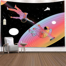 Astronaut Boho Wall Hanging Tapestry Moon Night Psychedelic Wall Cloth Yoga Mat Mandala Hippie Throw Tapestry Carpet Home Decor cityscape printed mandala tapestry wall hanging home bed decor hippie polyester letter motto tapestry beach throw towel yoga mat