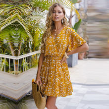 Spring Summer Sexy Short Floral Dress Women 2021 New Butterfly Sleeve V Neck Print Party Dresses For Women Casual Ruffles