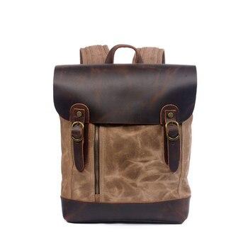 Vintage Travel Mens Big Bags Genuine Leather Backpack Canvas Waterproof Bag Outdoor Accessories