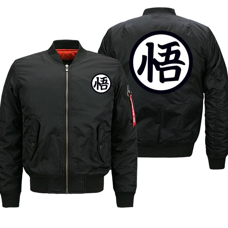 Dragon Ball Z Japanese Anime Printed Male Jackets Army Bomber Jacket Men Streetwear Thick Coat Hip Hop Motorcycle Fashion Coats
