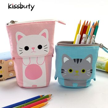 Quality Flexible Cute Cat Pencil Case Fabric School Supplies Stationery Gift School Cute Pencil Box Pencilcase Pencil Bag new gold pencil case reversible sequin school supplies bts stationery gift cute pencil box pencilcase school tools pencil cases