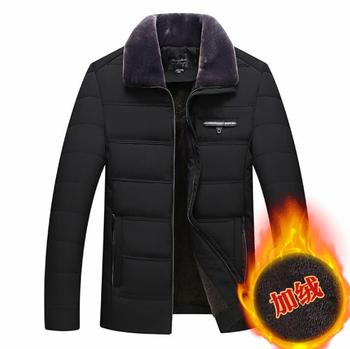 winter warm jacket men coat Cotton clothes Short down jacket with thick velvet Middle-aged and elderly fur collar b290
