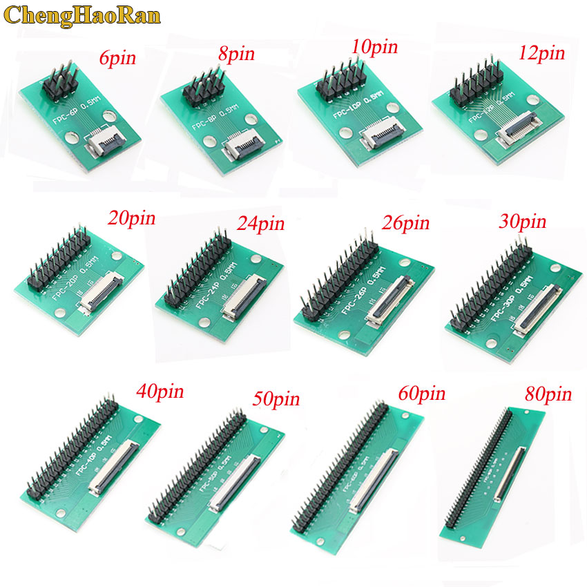 1pcs 0.5mm pitch Connector SMT Adapter to 2.54mm 1.00 inch pitch through hole <font><b>FPC</b></font> FFC Cable 6 8 10 12 20 24 30 40 50 60 <font><b>80</b></font> <font><b>PIN</b></font> image