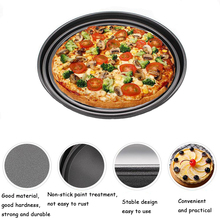Thick 9 10 11 inch Pizza Plate Round Shallow Dish Pan Tray Carbon Steel Non-stick Mold Baking Tool Mould