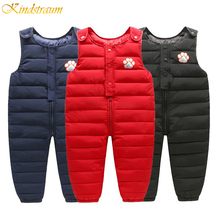 2019 Winter children down cotton bib pants for kids overalls toddler boys pants warm baby girls pants waterproof trousers DC181