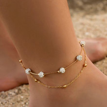 Simple Personality Double Layer Crystal Ball Beach Anklets Punk Metal Ball Chain Anklet Fashion Jewelry Gifts For Women