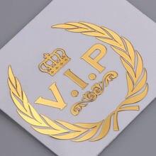 Estilo do carro 3d vip coroa emblema de metal níquel emblema adesivo automóvel decoração do corpo decalque para o telefone móvel acessórios do portátil