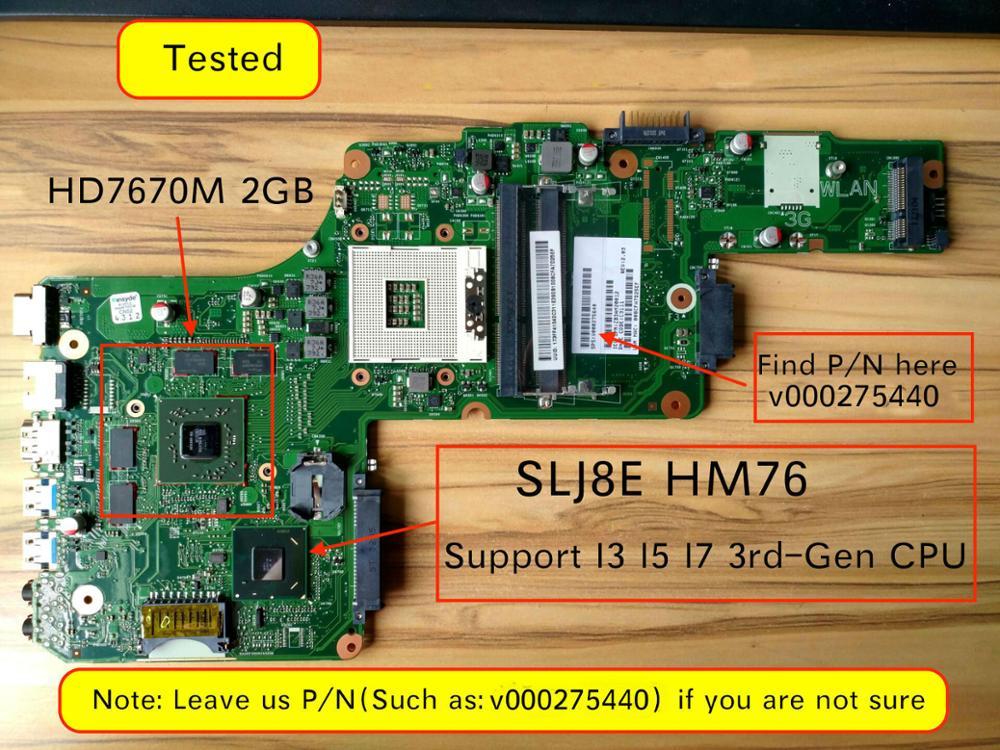 V000275440 V000275200 Mainboard For Toshiba L855 L850 Laptop Motherboard HD 7670m 2GB