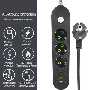 Image 1 - EU Russian USB Power supply Socket 3 Way EU Power Strip Electric Extender Cord Outlet Surger Overload Protector Network filter