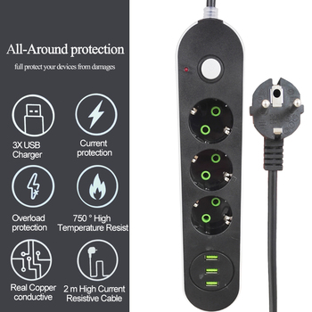 цена на EU Russian USB Power supply Socket 3 Way EU Power Strip Electric Extender Cord Outlet Surger Overload Protector Network filter