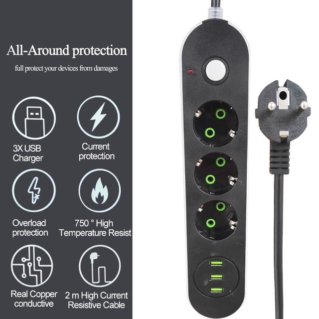 EU Russian USB Power supply Socket 3 Way EU Power Strip Electric Extender Cord Outlet Surger Overload Protector Network filter