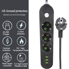 الاتحاد الأوروبي الروسية USB مأخذ التيار الكهربائي 3 طريقة الاتحاد الأوروبي قطاع الطاقة الكهربائية موسع الحبل منفذ Surger الزائد حامي شبكة تصفية