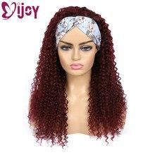 99J RedWine rizado pelucas de cabello humano IJOY cabello humano brasileño pelucas de diadema negro mujeres barato la máquina pelucas