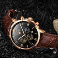 Reloj דה hombre ליגע גברים של שעוני גברים עסקי אופנה עור שעון ירח שלב תאריך זוהר רב פונקצית ספורט קוורץ שעון