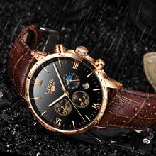 Reloj de hombre LIGE Men's Watches Men Business Fashion Leather Watch Moon phase Date Luminous Multi-function Sport Quartz Clock цена и фото