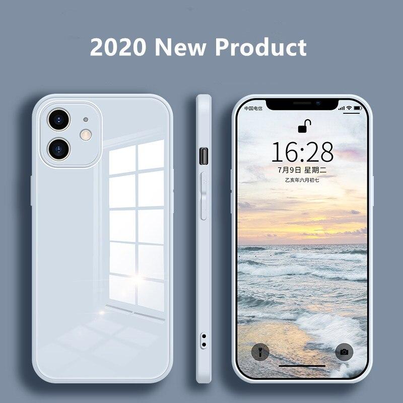 Vloeibaar Glas Case Voor Iphone 12 Pro Max Krasbestendig Anti-Fall Kleurrijke Back Cover Beschermhoes 1