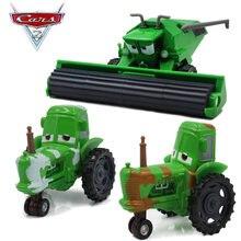 Raro disney pixar carros 2 relâmpago mcqueen verde frank colheitadeira e trator liga modelo dos desenhos animados brinquedos veículo presente de aniversário conjunto
