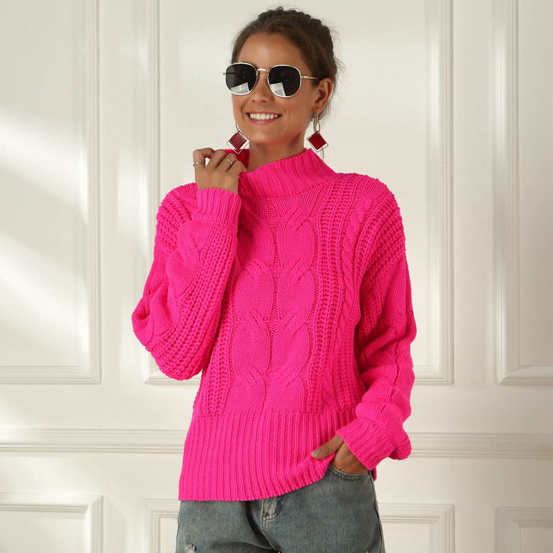 Neon Sweater Women Knitted Fuchsia Pink Solid Half Turtleneck Pullovers Long Casual Loose Knitted Pullover Female Sweater Jumper