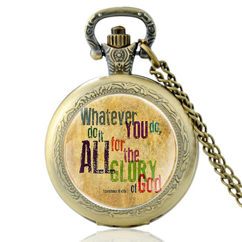 Classic Retro Bronze Bible Verse Quartz Glass Dome Pocket Watch Vintage Men Women Necklace Clock Chain  Jewelry Gifts new fashion pray without ceasing bible verse christian necklace cabochon pendant inspirational jewelry women men faith gifts