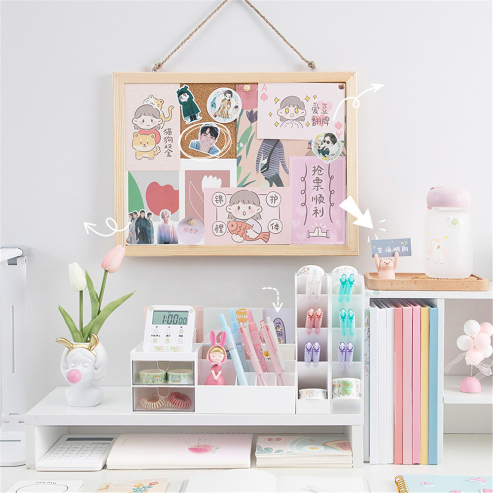 Soft Wooden Cork Board Postcard PhotoWall Letter Message Board Pushpin DIY Memo Paper Background Board Handmade Craft