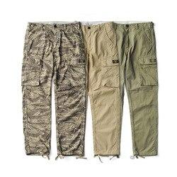 Us estilo militar Tigre patrón camuflaje cargo pantalones hombres algodón vintage recto casual pantalones CP-0001