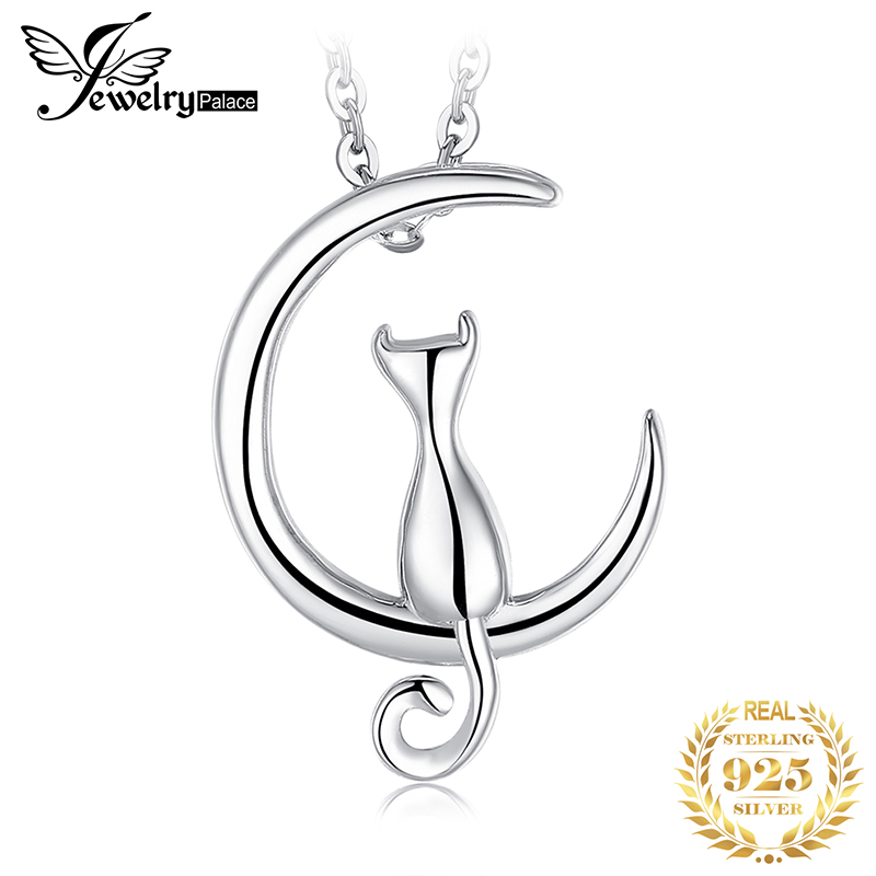 JPalace Cat Moon Silver Pendant Necklace 925 Sterling Silver Choker Statement Necklace Women Silver 925 Jewelry Without Chain