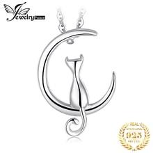 JPalace Cat Moon Silver Pendant Necklace 925 Sterling Choker Statement Women Jewelry Without Chain