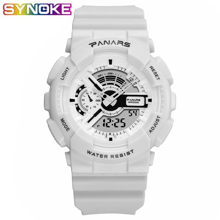 PANARS Sport de plein air blanc montre numérique hommes femmes réveil 5Bar étanche choc militaire montres LED affichage choc montre