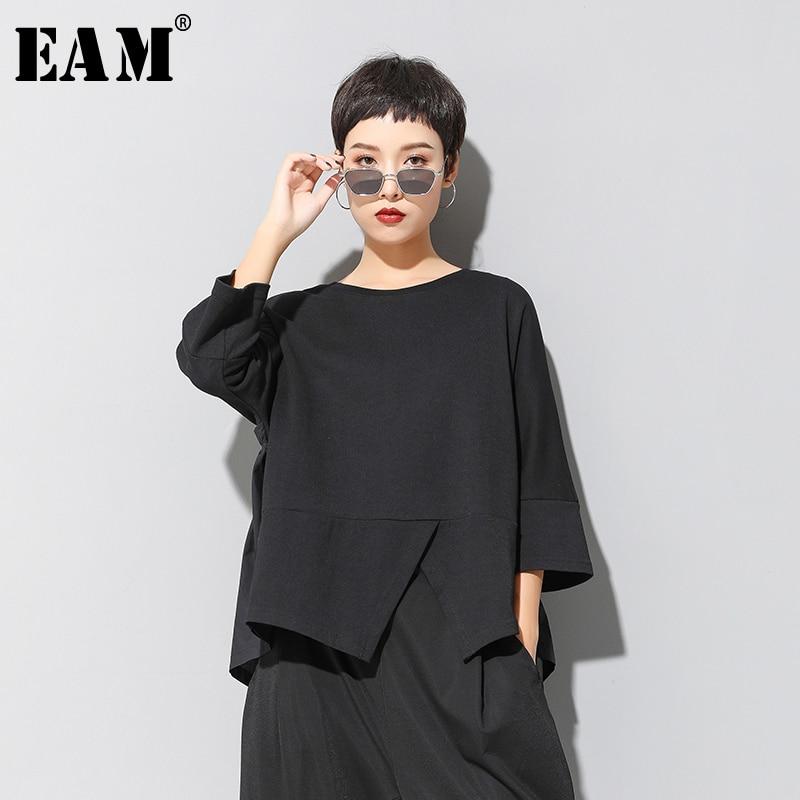 [EAM] Women Black Irregular Split Joint Big Size T-shirt New Round Neck Three-quarter Sleeve  Fashion Spring Summer 2020 1U321