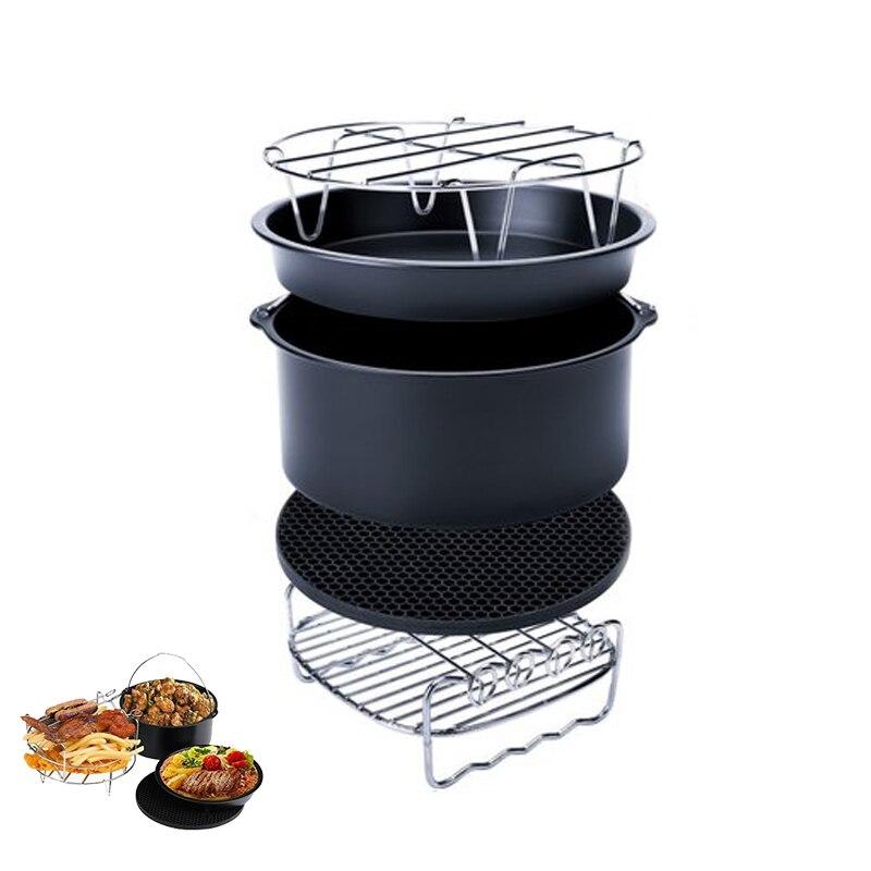 Kit Air-Fryer-Accessories Silicone-Mat/steel Baking for Metal-Holder/skewer-Rack Metal-Holder/skewer-Rack