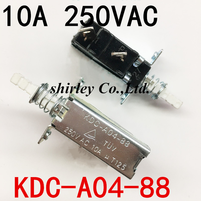 Free Shipping 5PCS 10A 250V AC SPST 2 Pins Push Button Power Switch KDC-A04-88 100%new KDC-A04 Since The Lock