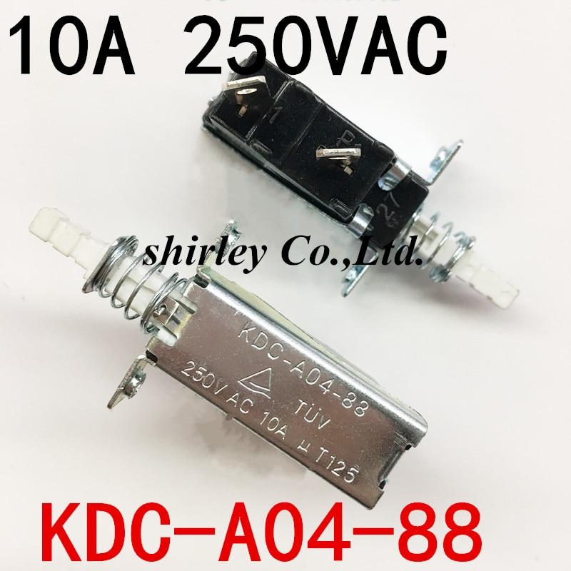 Free Shipping 5PCS 10A 250V AC SPST 2 Pins Push Button Power Switch KDC-A04-88 100%new KDC-A04 Since The Lock