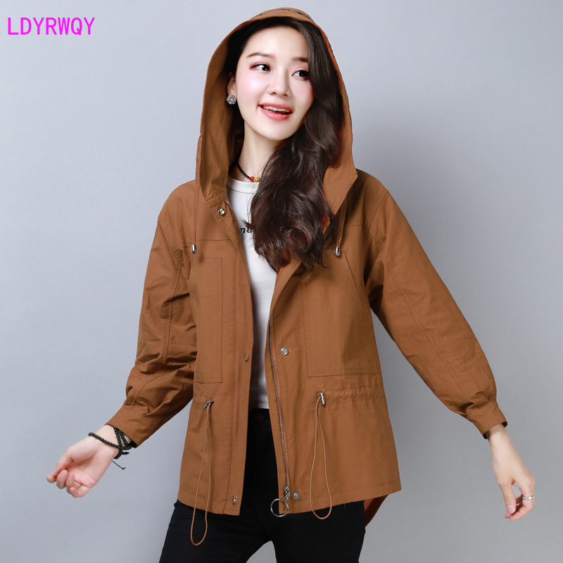 2019 autumn new Korean fashion women 39 s slim casual zipper twist hooded long sleeved versatile jacket Solid Full Lace Up in Jackets from Women 39 s Clothing