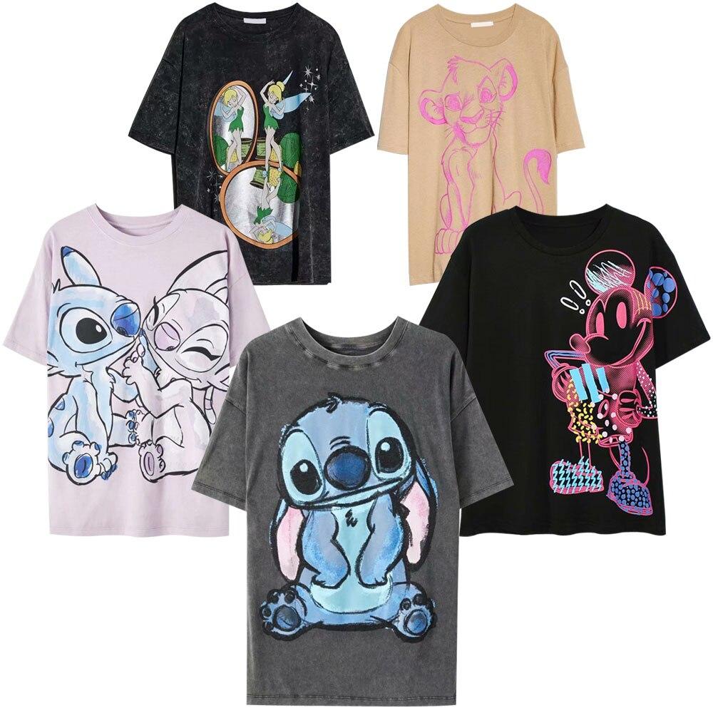 Hebe20e3da4ef4ccebbe980b6a4135bec8 Disney Family T-Shirt Fashion Winnie the Pooh Mickey Mouse Stitch Fairy Dumbo SIMBA Cartoon Print Women T-Shirt Cotton Tee s