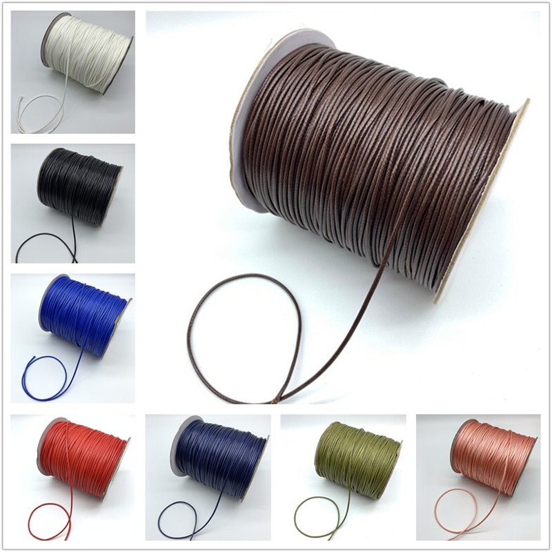 0.5/0.8/1.0/1.5/2.0mm Waxed Cotton Cord Waxed Thread Cord String Strap Necklace Rope For Jewelry Making For Shamballa Bracelet