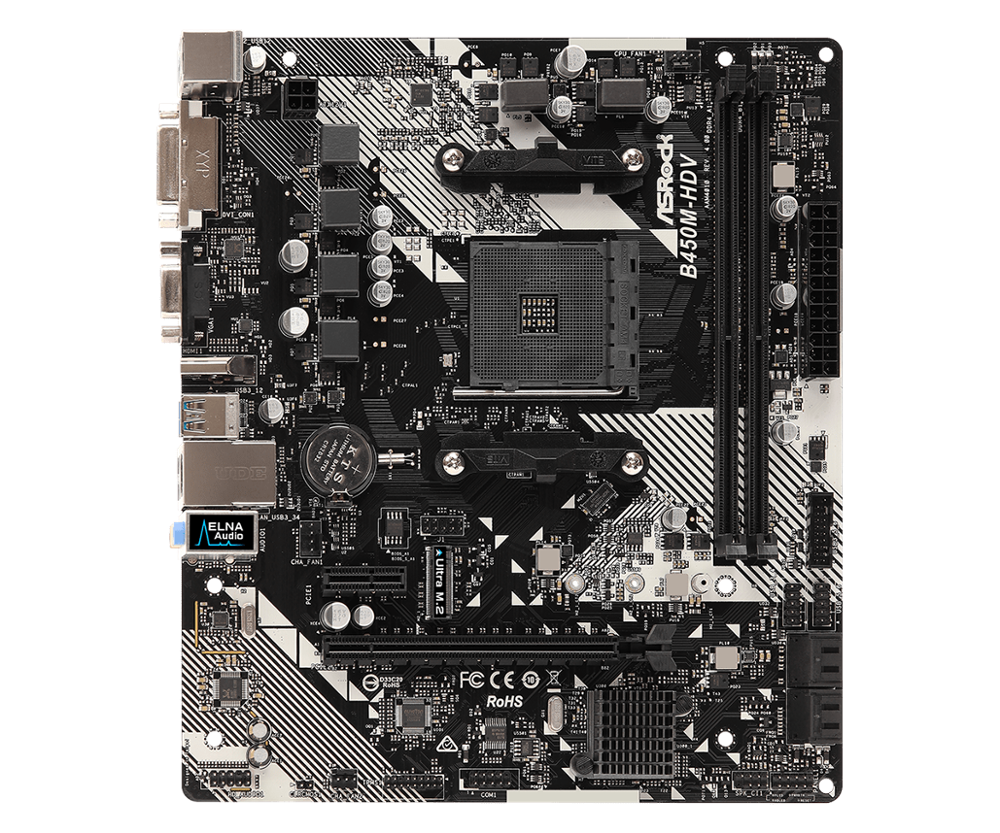ASRock In Lega di Super-B450M-HDV Scheda Madre Desktop B450 Presa AM4 DDR4 32G SATA3, 1 Ultra M.2 USB 3.1 VGA HDMI Micro-ATX