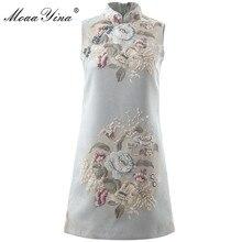 MoaaYina projektant mody pas startowy sukienka wiosna lato kobiety sukienka stanąć kołnierz bez rękawów frezowanie sukienki w stylu Vintage