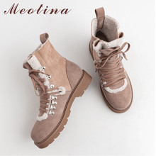 Купить с кэшбэком Meotina Real Leather Snow Boots Women Cow Suede Plush Flat Ankle Boots Lace Up Round Toe Shoes Lady Winter 2019 Big Size 33-42