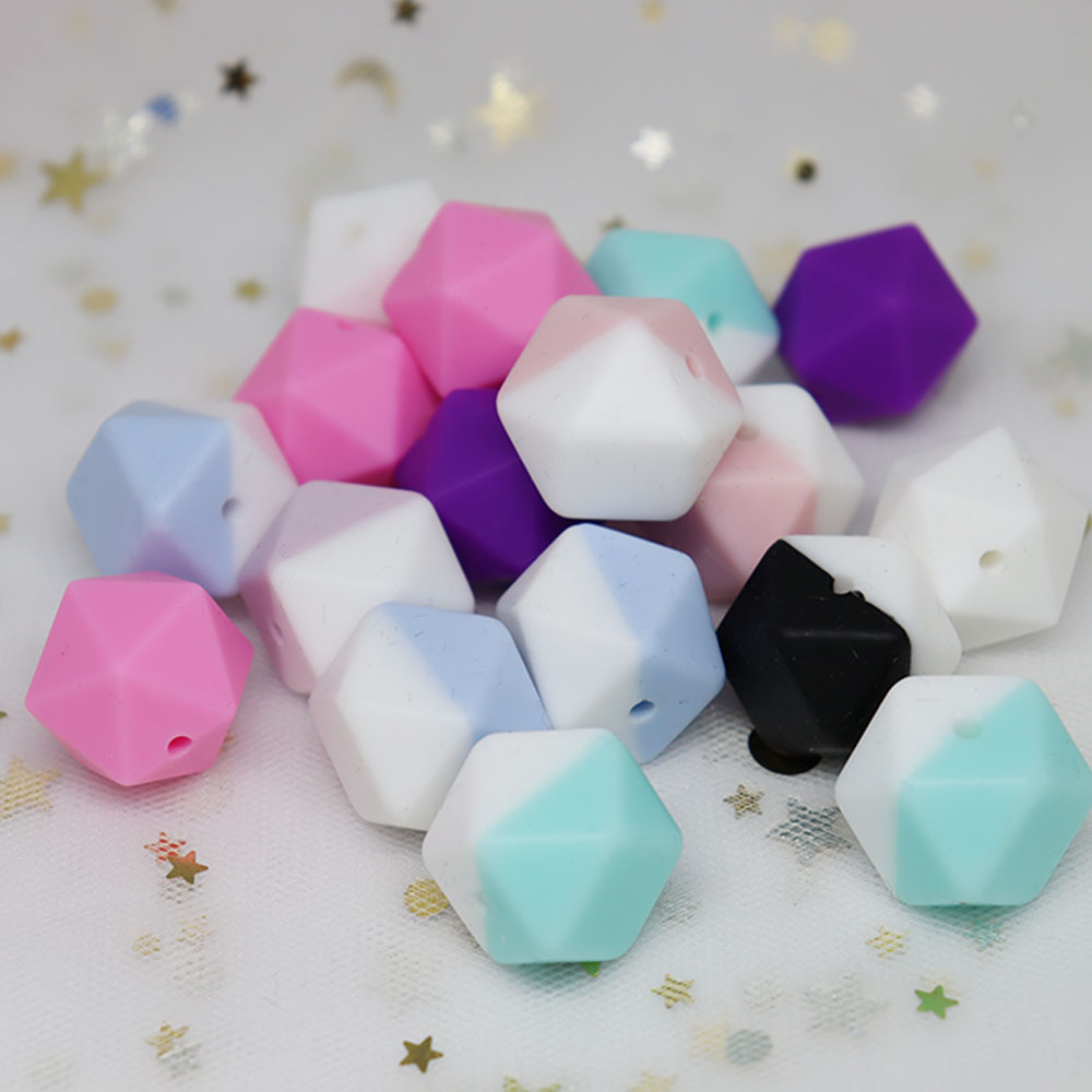 10Pcs/lot  Hexagon Icosahedron Silicone Beads Food Grade Baby Teething Beads For Jewelry Making DIY Necklace Baby Products