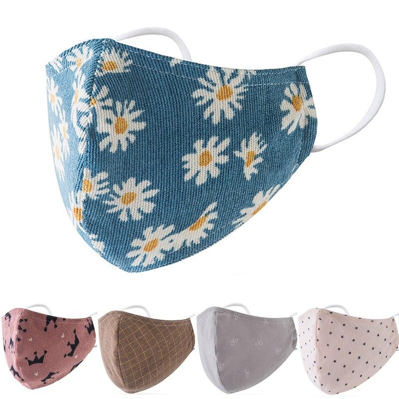 Моющиеся хлопковые маски для рта, маска с цветочным принтом хризантемы, многоразовая маска для взрослых, регулируемые маски для ушей с филь...