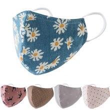 Masques buccaux lavables en coton à chrysanthème, imprimé de fleurs, réutilisables, pour adultes, avec bandes auriculaires réglables, avec filtres pm2, 5