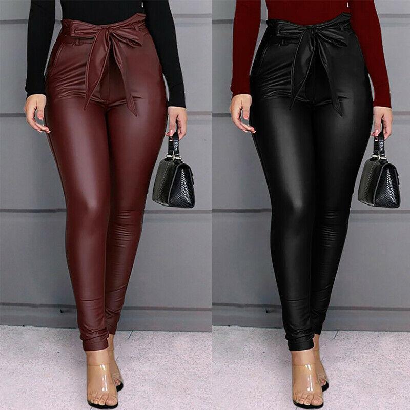 Hot Wine Red Black Women Pu Leather Pants Leggings Ladies Skinny Pencil Gothic Punk Pant Trousers Sexy Skinny High Waist Pants