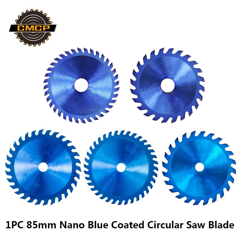 1pc 85x15mm 24/36 Teeth TCT Circular Saw Blade 85x10mm Nano Blue Coating Wood Saw Blade Carbide Cutting Disc Mini Saw Blade