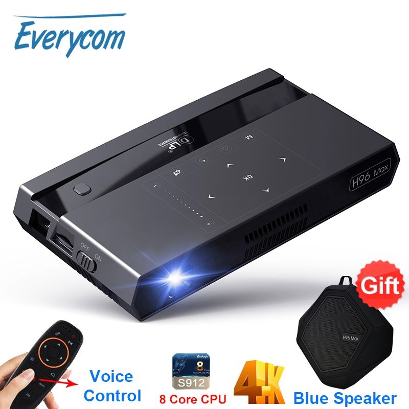 Brand Mini Projector Everycom H96 Max DLP Projector Support 4K Wifi Android Voice Control Smart Video Home Theater Projectors image