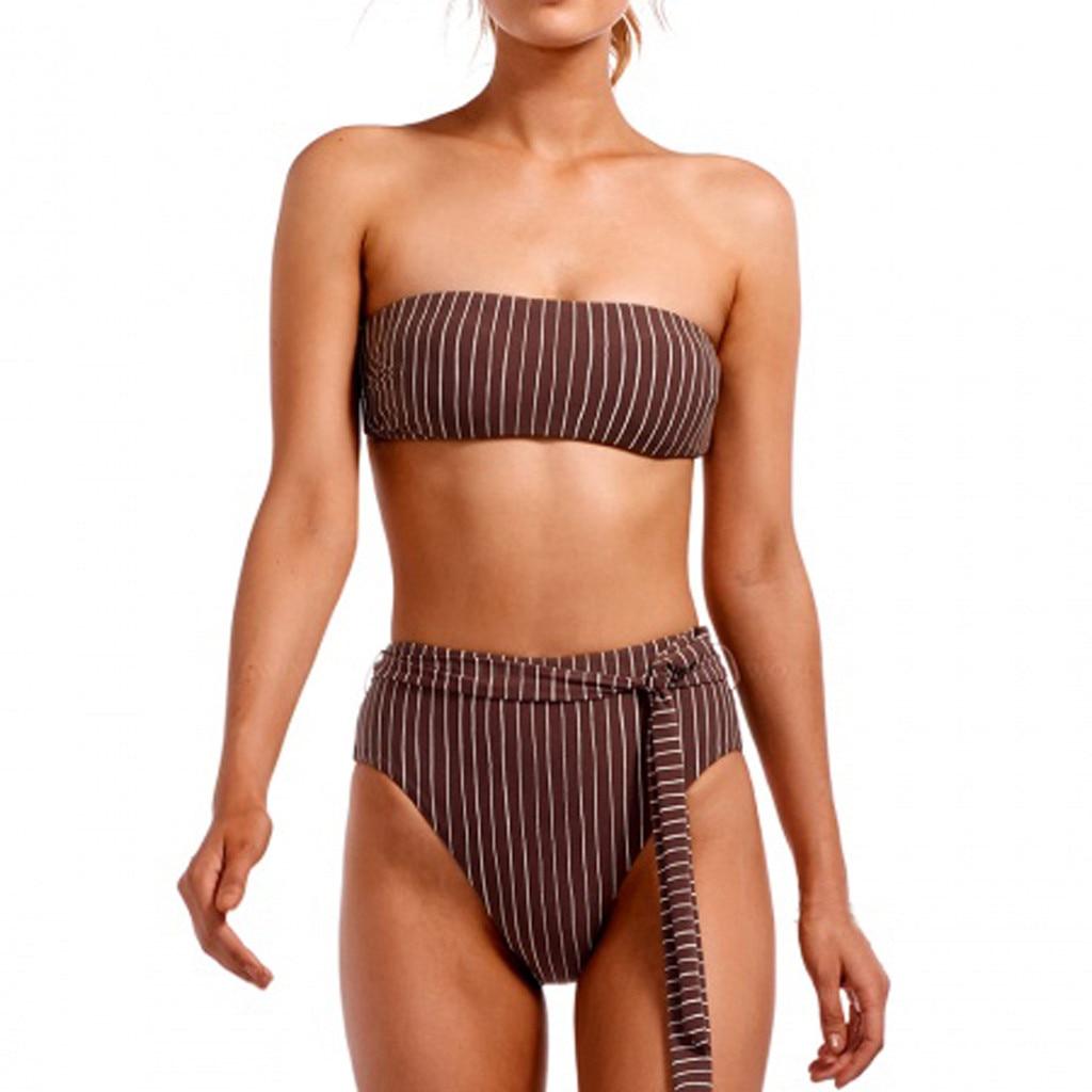Sexy Striped Bikini Set Women Off Shoulder Bandage Bikinis Bathing Suit Summer Swimsuit Female Beachwear Monokini Swimwear#Y20 2