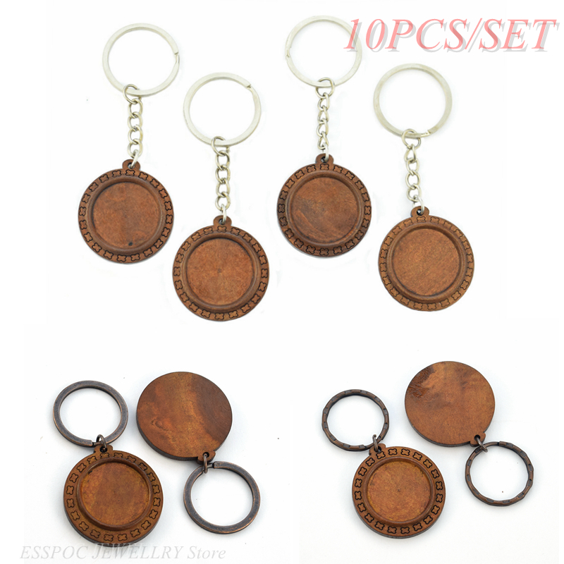 10 PCS/SET Base Handmade Jewelry Brown Wooden Pendant Accessories Keychain For Making Birthday Women Gift