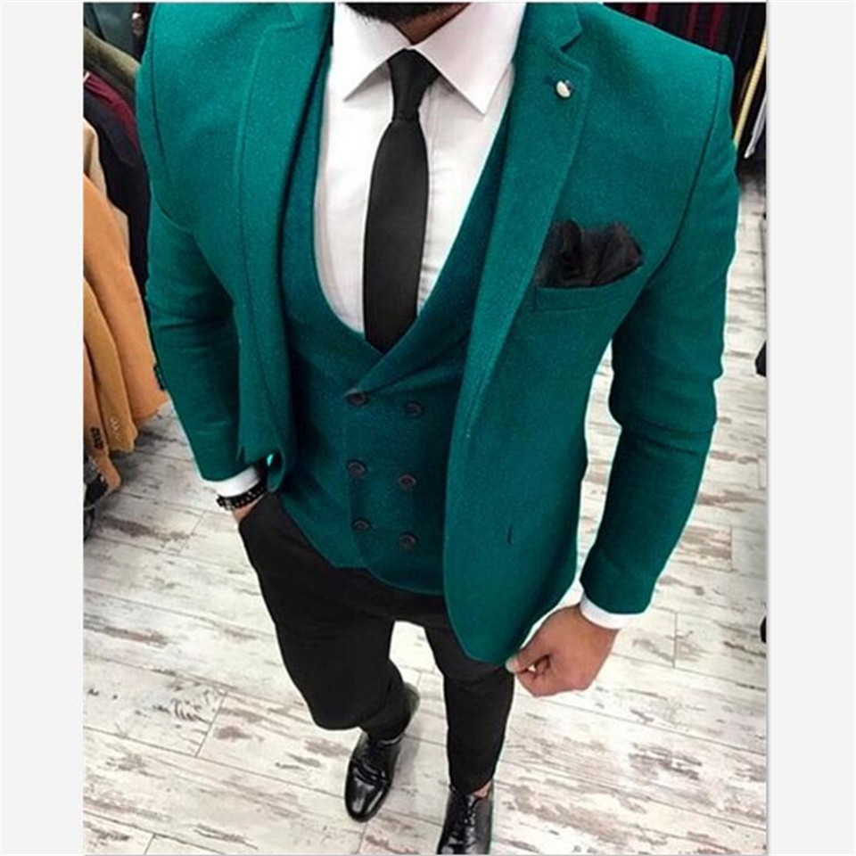 New Classic Men's Suit Smolking Noivo Terno Slim Fit Easculino Evening Suits For Men Green Tweed With Black Pants Wedding Mascul