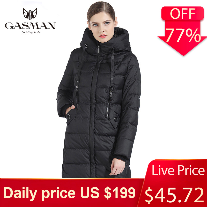 GASMAN 2019 Thick Women Bio Down Jacket Brand Long Winter Coat Women Hooded Warm Parka Fashion Jacket New Female Collection 1827