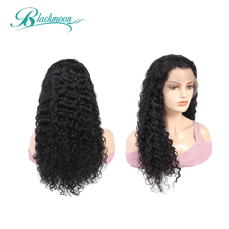 13x4 Lace Front Human Hair Wigs Brazilian Deep Wave Lace Frontal Wig Remy Hair Wig 150% Density 8-24 Inch Natural Blackmoon Hair