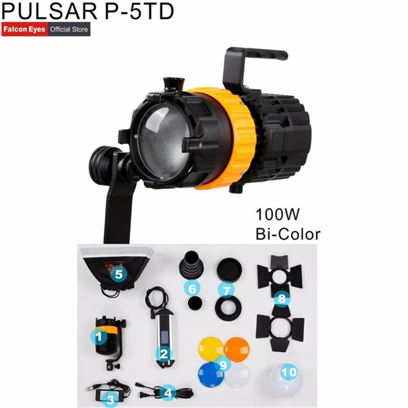 DIGITALFOTO Falcon Eyes Pulsar 5 P-5TD Mini Spot Light Adjustable Focus Length Fill Light 100W Photography Light